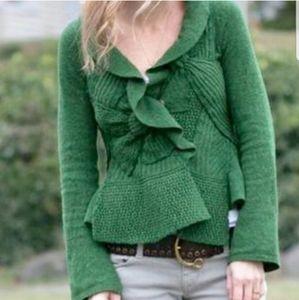 Moth Bow Green Cozy Cardigan Wool Blend Sweater